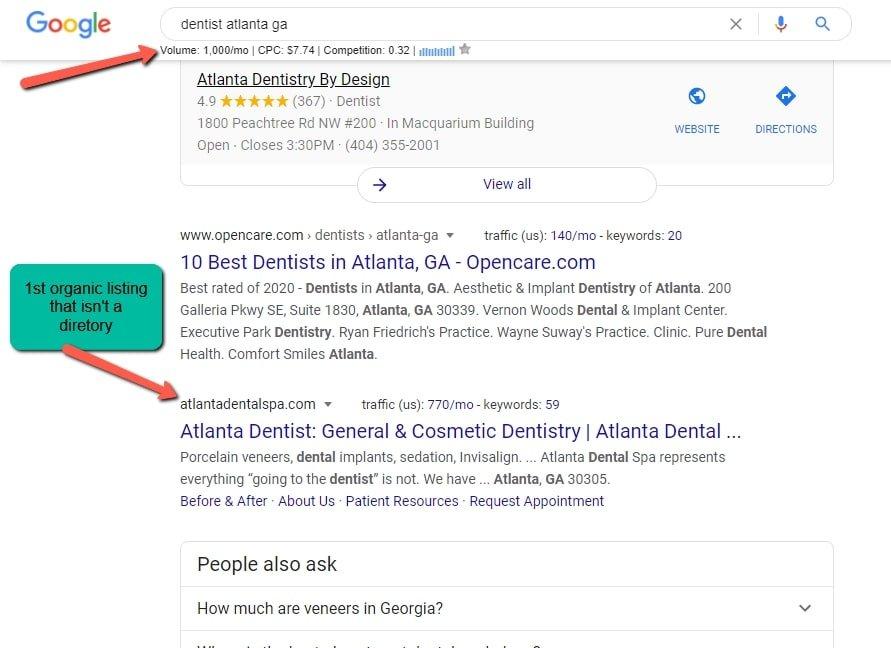 atlanta dentist search example