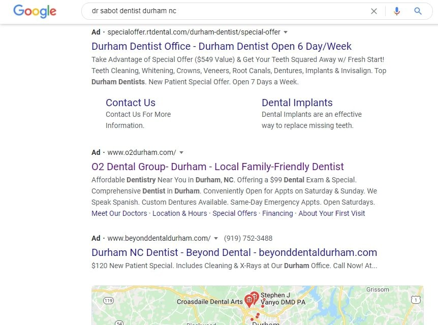 google dentist example